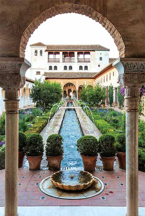 Courtyard garden of Generalife de Granada (Moorish Spain)