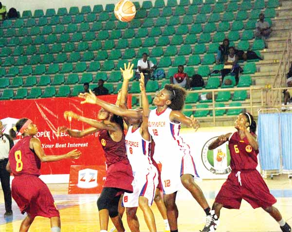Delta Force battling with the Oluyole Babes during their 12thZenith Bank National Women Basketball League game in Abuja… On Monday.