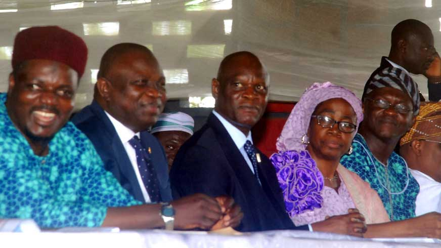 L-R. Dr. Abdul Hakeem Abdulateef, Commisioner for Home Afffairs and Culture, Lagos State and Governor Ambode.
