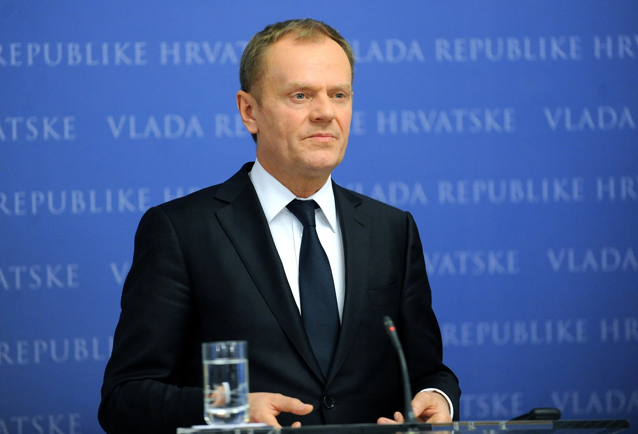 "President of the European Council Donald Tusk gives a press conference with Croatian Prime Minister after their meeting in Zagreb, on March 2, 2016. In a bid to ease the divisions, EU President Donald Tusk is currently touring the Balkan states and Turkey, the main departure point for refugees. Ahead of a crucial EU-Turkey summit on March 7, Tusk said he will press for ""a more intensive engagement"" from Ankara on a deal signed with the EU in November to limit the flow of refugees. / AFP / STR"
