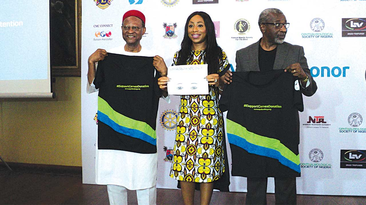 Former Commonwealth Secretary-General, Chief Emeka Anyaoku,(left); Ambassador, Eye Bank, Mrs. Dakore Akande ; and Chairman, Fund Raising Committee, Eye Bank, Mr. Folusho Phillips at the breakfast fundraiser in Lagos