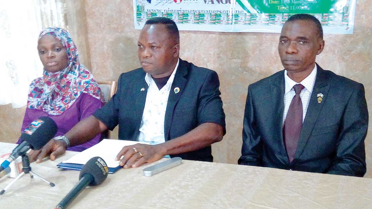 Executive Secretary, Nigerian Institution of Civil Engineers, Mrs Rahmat Odejayi (left); Chairman, Robbie Owivry and immediate past Chairman, Saliu Lawal during the media conference in Lagos