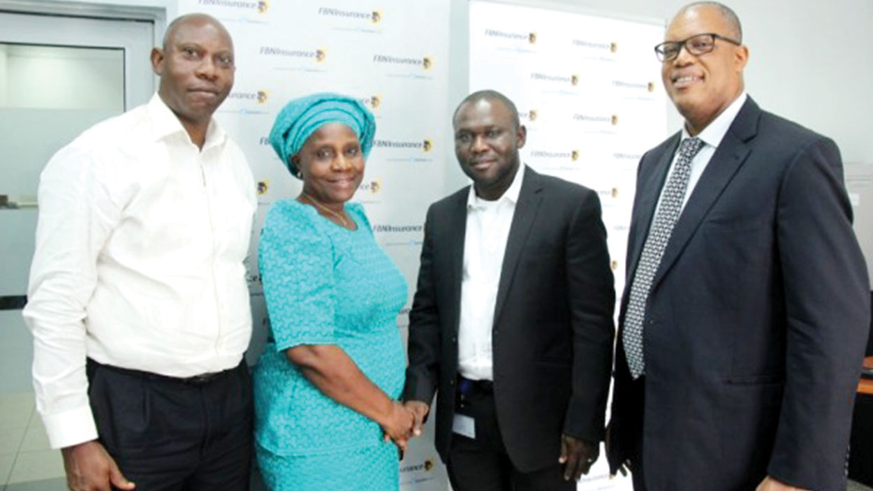 Retirees Alhaji S. A. Olonade, (right) Mrs. Mobonike Ogundipe; Head of Actuarial Services/ERM/Annuity, Adekunle Adeola, and MD/CEO, FBNInsurance Limited, Valentine Ojumah, at the FBNINSURANCE annuity seminar in Lagos.