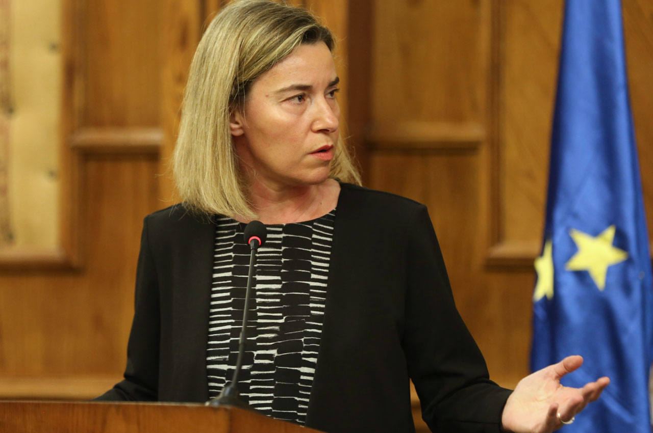 "EU foreign policy chief Federica Mogherini gestures during a joint press conference with Jordanian Foreign Minister in the capital Amman, on 22 March 2016. Mogherini who is due to meet with Jordan's King Abdullah II said the blasts in Brussels marked a ""very sad day"" for Europe, saying on a visit to Jordan, it was now suffering like the Middle East. ""It is... a very sad day for Europe as Europe and its capital is suffering the same pain that this region has known and knows every single day,"" she said tearfully at a joint press conference with Jordanian Foreign Minister Nasser Judeh. / AFP / KHALIL MAZRAAWI"