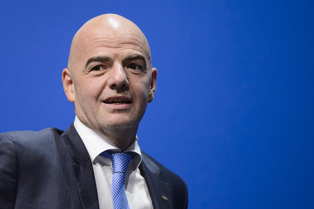 New FIFA President Gianni Infantino holds his first press conference in Zurich on February 26, 2016 following his election. / AFP / FABRICE COFFRINI