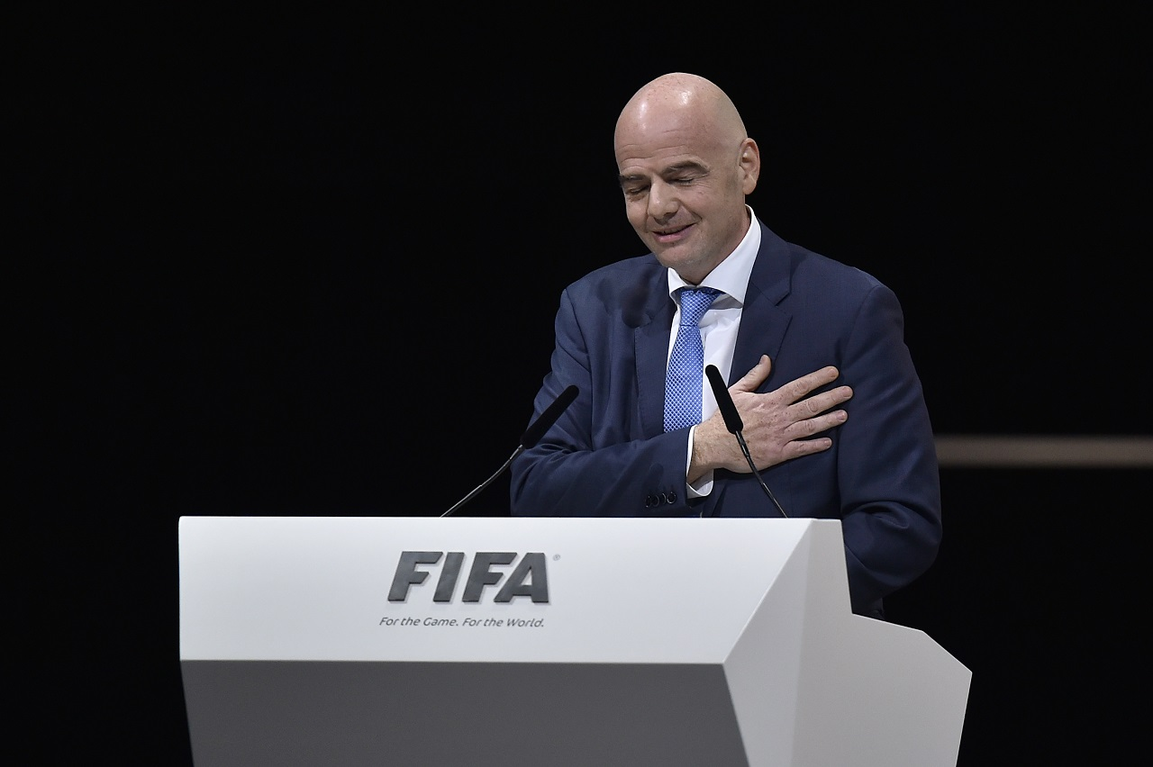 New FIFA president Gianni Infantino reacts after winning the FIFA presidential election during the extraordinary FIFA Congress in Zurich on February 26, 2016. AFP PHOTO / FABRICE COFFRINI / AFP / FABRICE COFFRINI