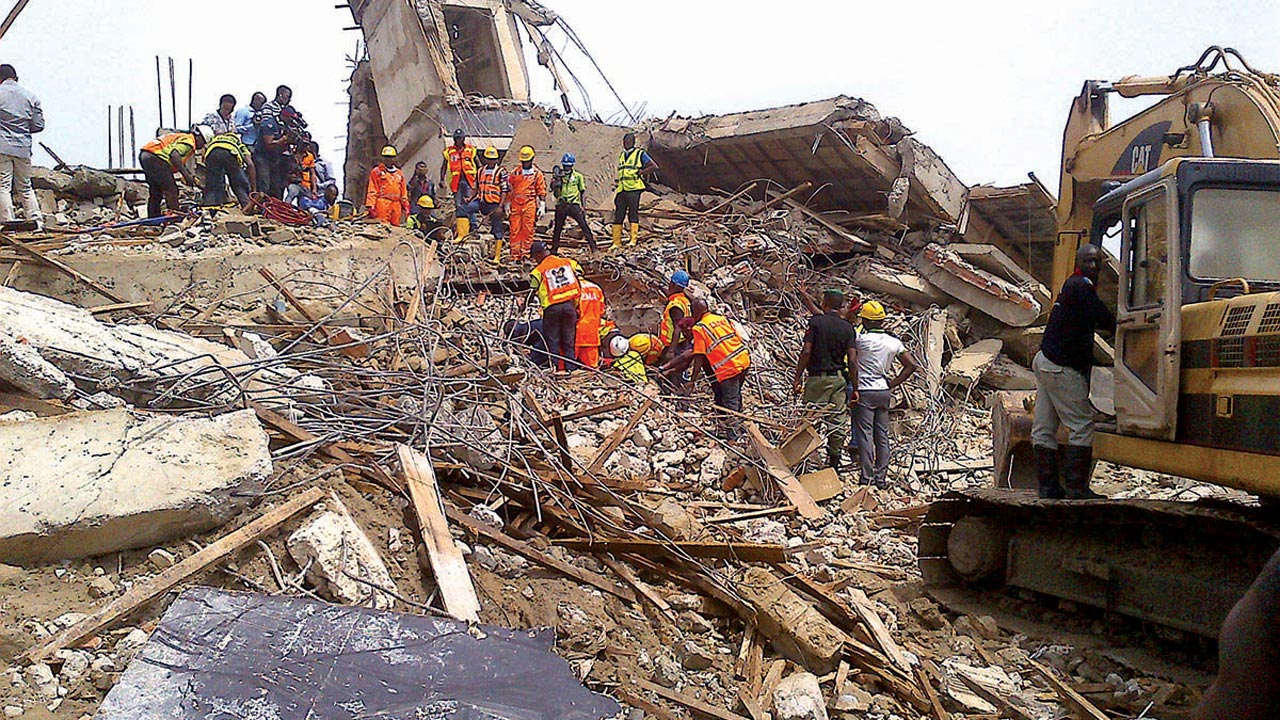 Rescuers at the scene of the collapsed five-storey building at Lekki, Lagos Photo: Bertram Nwannekanma