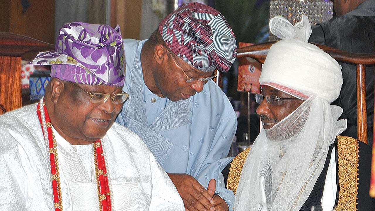 Awujale of Ijebuland, Oba Sikiru Kayode Adetona(left), Chairman, Honeywell, Oba Otudeko and Emir of Kano, Muhammadu Sanusi 11 at the inaugural lecture in honour of Adetona in Lagos ... yesterday.