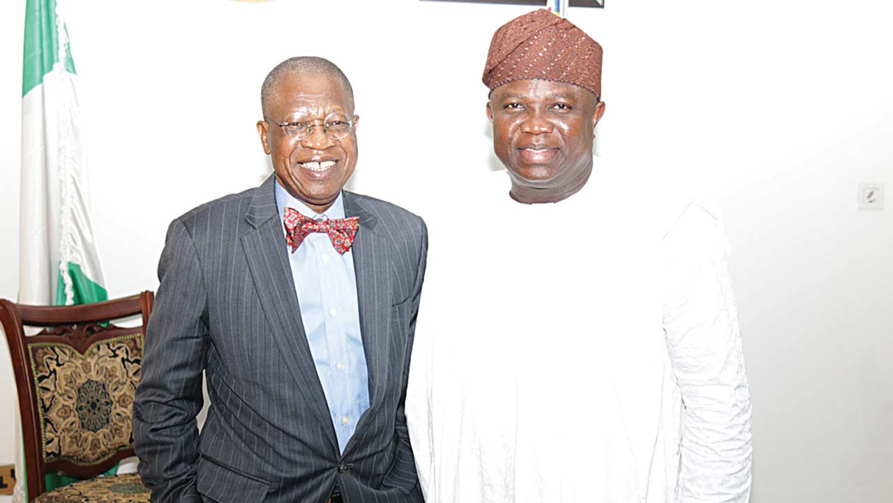 Minister of Information and Culture Lai Mohammed and Lagos State governor, Mr Akinwunmi Ambode, during the visit