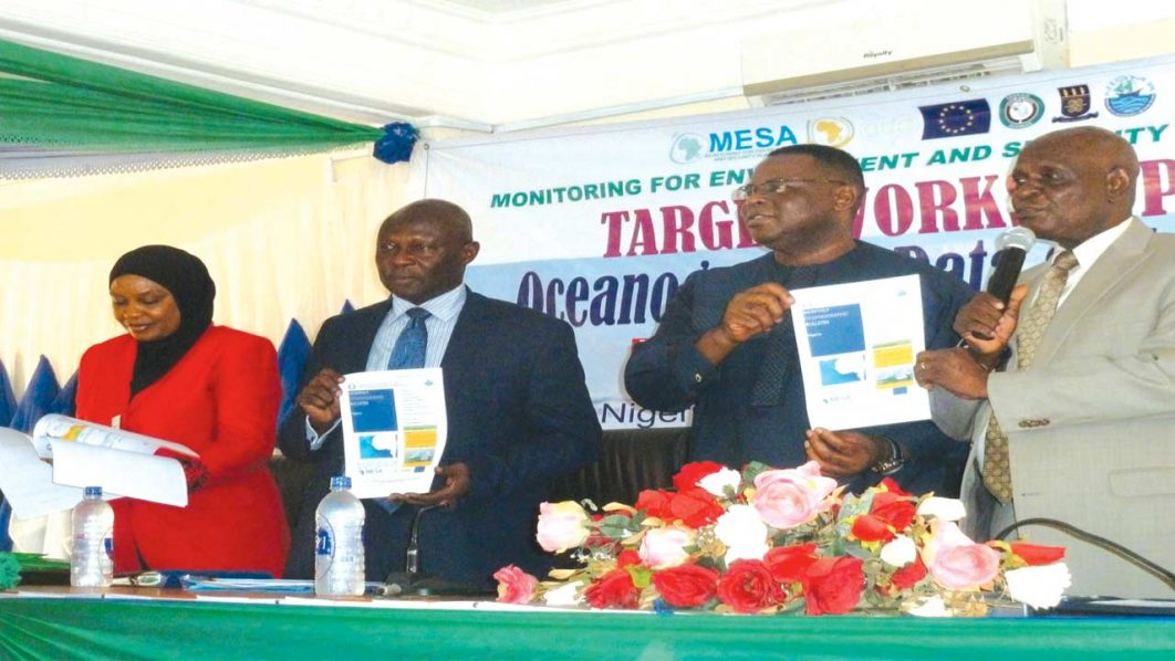 MESA National Focal Point Coordinator, Mrs. Bola Kupolati, Lagos State Commissioner For Waterfront Infrastructure development, Mr. Adebowale Akinsanya, Keynote Speaker, Professor Obinnu Chukwu and Executive Director, NIOMR, Dr. Gbola Akande during the launching of Oceanography Bulletin in Lagos last week