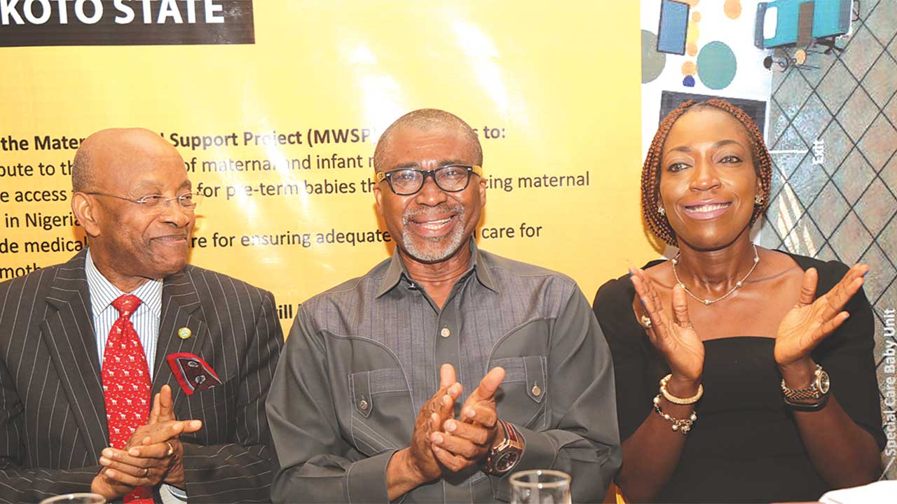 Director, MTN Foundation, Elder Dennis Okoro (left); Senator Enyinnaya Abaribe; and Executive Secretary, MTN Foundation, Ms. Nonny Ugboma at the media briefing and Memorandum of Understanding (MoU) signing ceremony of the MTN Foundation Maternal Ward Support Project in Lagos...