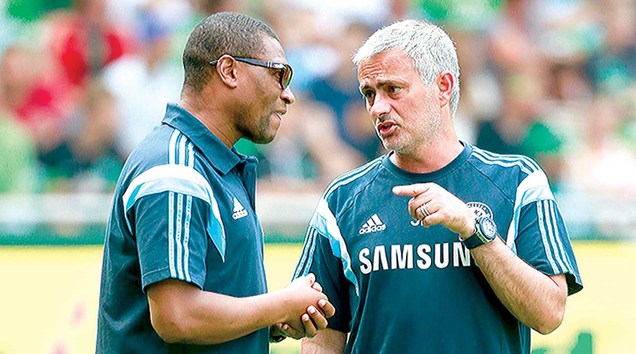 Michael Emenalo and Jose Mourinho at the Stamford Bridge