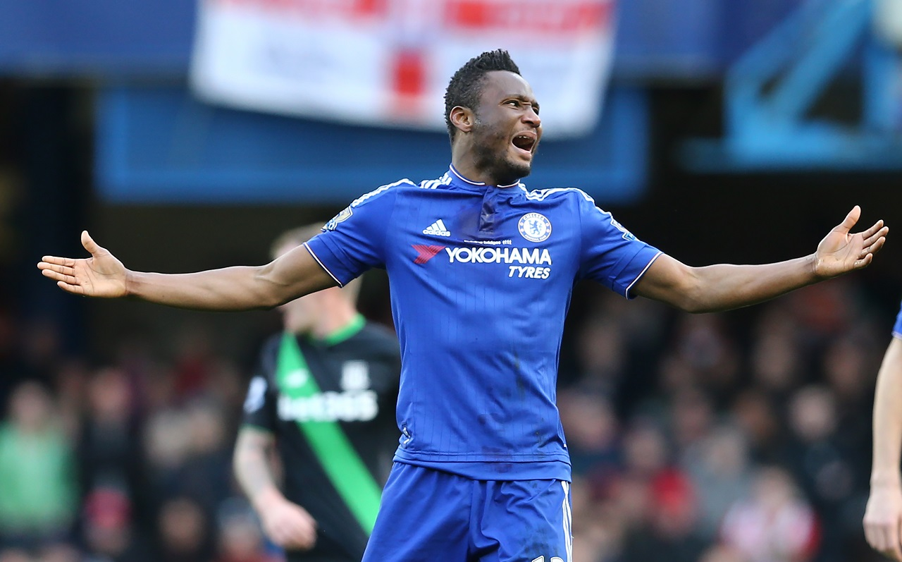 Chelsea's Nigerian midfielder John Obi Mikel reacts as the referee awards a freekick during the English Premier League football match between Chelsea and Stoke City at Stamford Bridge in London on March 5, 2016. / AFP / JUSTIN TALLIS / RESTRICTED TO EDITORIAL USE. No use with unauthorized audio, video, data, fixture lists, club/league logos or 'live' services. Online in-match use limited to 75 images, no video emulation. No use in betting, games or single club/league/player publications. /