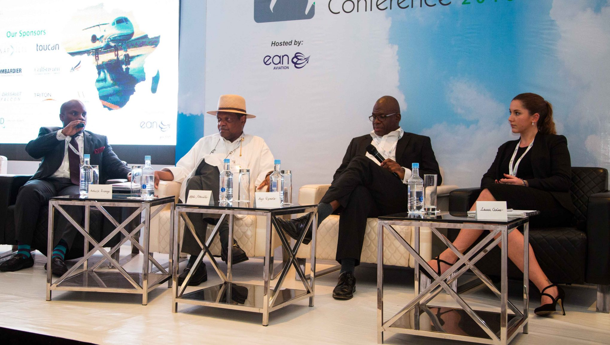 From L to R : Achuzie Ezenagu, MD/CEO, Toucan Aviation Support Services Atedo Peterside, Chairman, ANAP Business Jets Limited Ayo Oyewole, CEO Triton Aviation Laura Craine, Vice President Program Sales, Vistajet International Ltd.