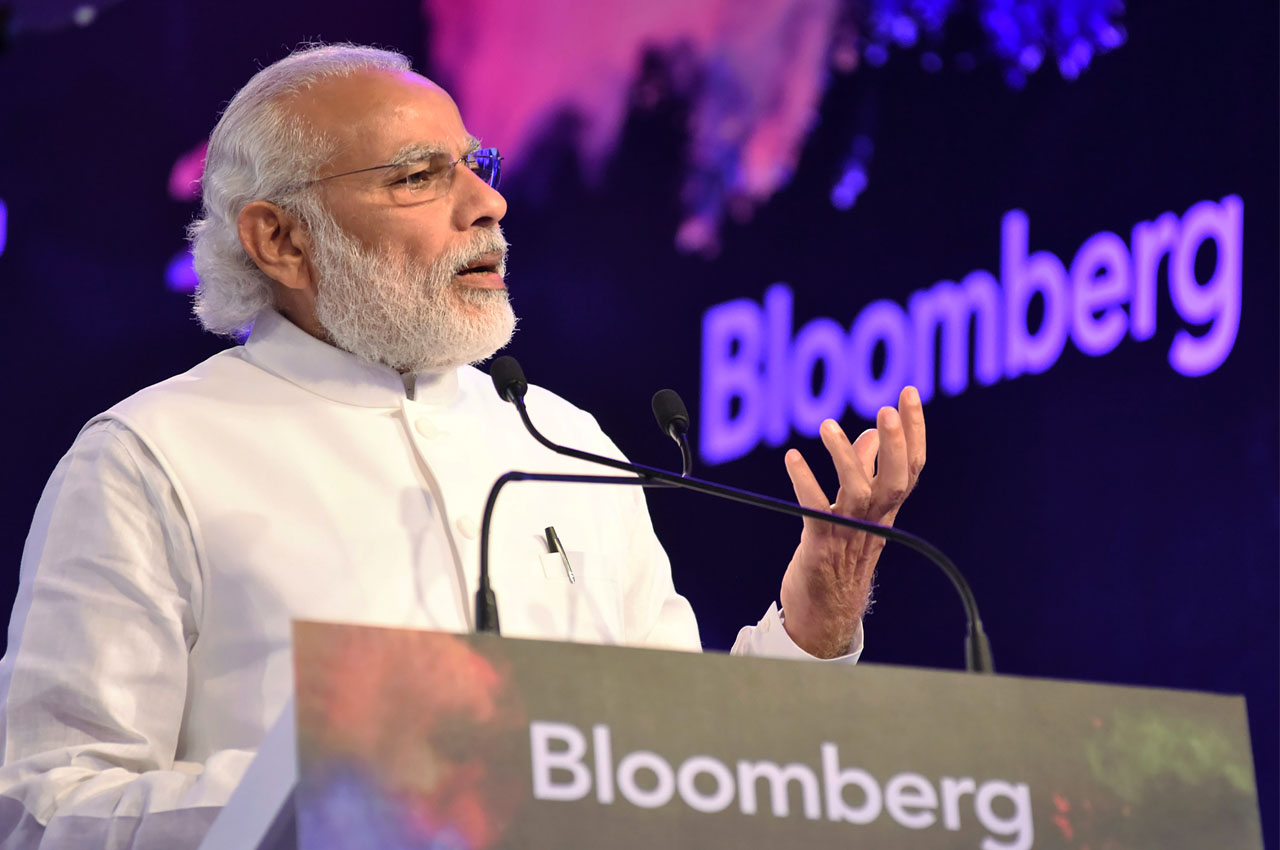 "In this handout photograph released by The Indian Press Information Bureau(PIB)on March 28, 2016, Indian Prime Minister Narendra Modi gestures as he addresses the ""Bloomberg India Economic Forum 2016"" in New Delhi on March 28, 2016.  RESTRICTED TO EDITORIAL USE - MANDATORY CREDIT ""AFP PHOTO / PIB"" - NO MARKETING NO ADVERTISING CAMPAIGNS - DISTRIBUTED AS A SERVICE TO CLIENTS / AFP / PIB / HO / RESTRICTED TO EDITORIAL USE - MANDATORY CREDIT ""AFP PHOTO / PIB"" - NO MARKETING NO ADVERTISING CAMPAIGNS - DISTRIBUTED AS A SERVICE TO CLIENTS"
