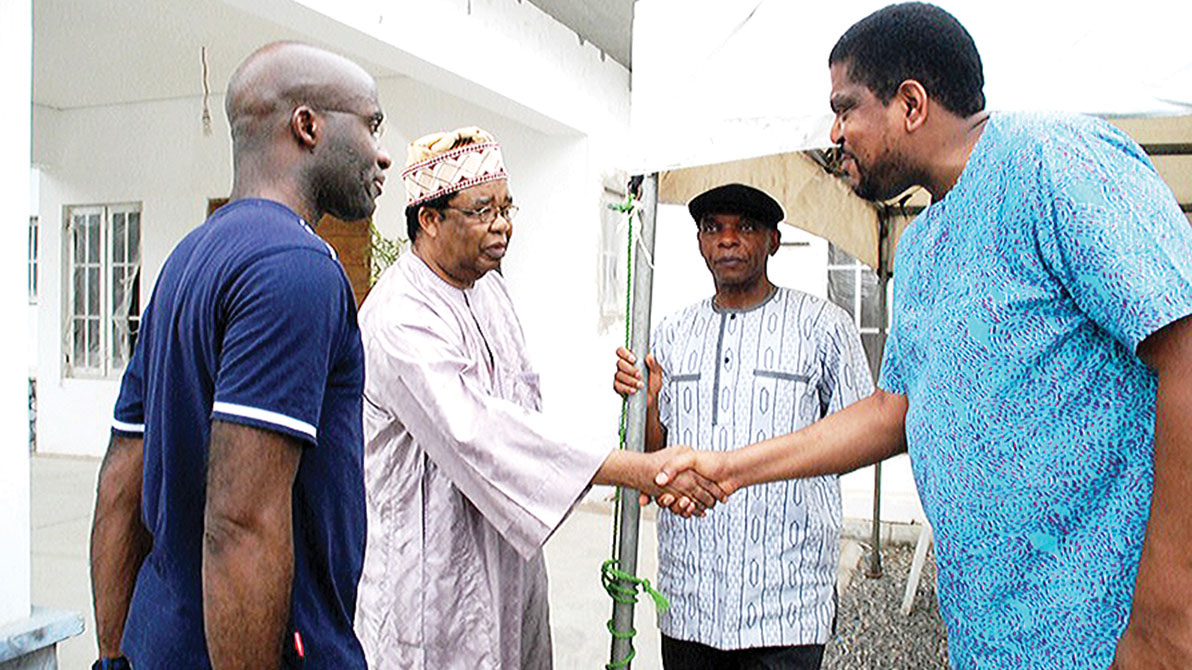 Son of the late Olorogun Felix Ibru, Dr. Paul Ibru  (left); Prof. Bolaji Akinyemi; Dele Adetiba and Omamemo Ibru at the Ikeja GRA residence of the late senator yesterday  More on pages 14 and 15 PHOTO: FEMI ADEBESIN-KUTI