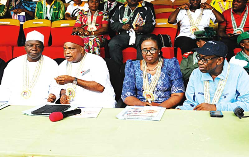 Director, Technology and Science Education, Federal Ministry of Education, Chega Sande Gandy (left); former Director/Principal Federal Science and Technical College (FSTC), Yaba, Mike Ofor; former Minister of Education, Prof Chinwe Nora Obaji; and Director/Principal, FSTC, Rev Chris Ugorji, during the 45th inter-house sports competition of the school, recently.