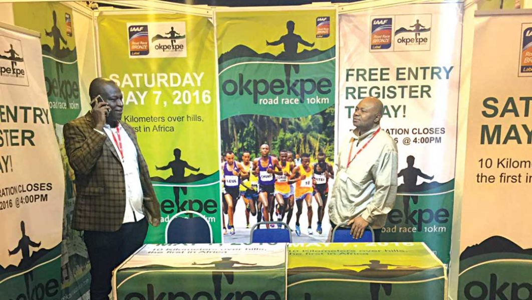 Supersports Nigeria General Manager, Felix Awogu (left) and Okpekpe race director, Zakari Amodu, at the Okpekpe stand in Cardiff during the IAAF World Half Marathon Championships.