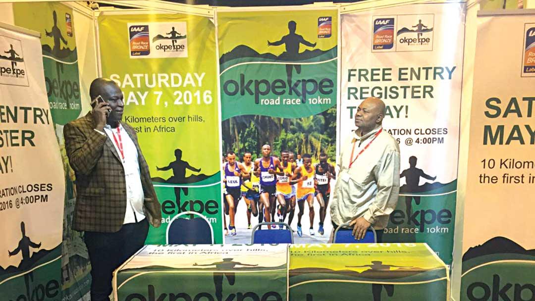 Supersports Nigeria General Manager, Felix Awogu (left) and Okpekpe race director, Zakari Amodu, at the Okpekpe stand in Cardiff during the IAAF World Half Marathon Championships.