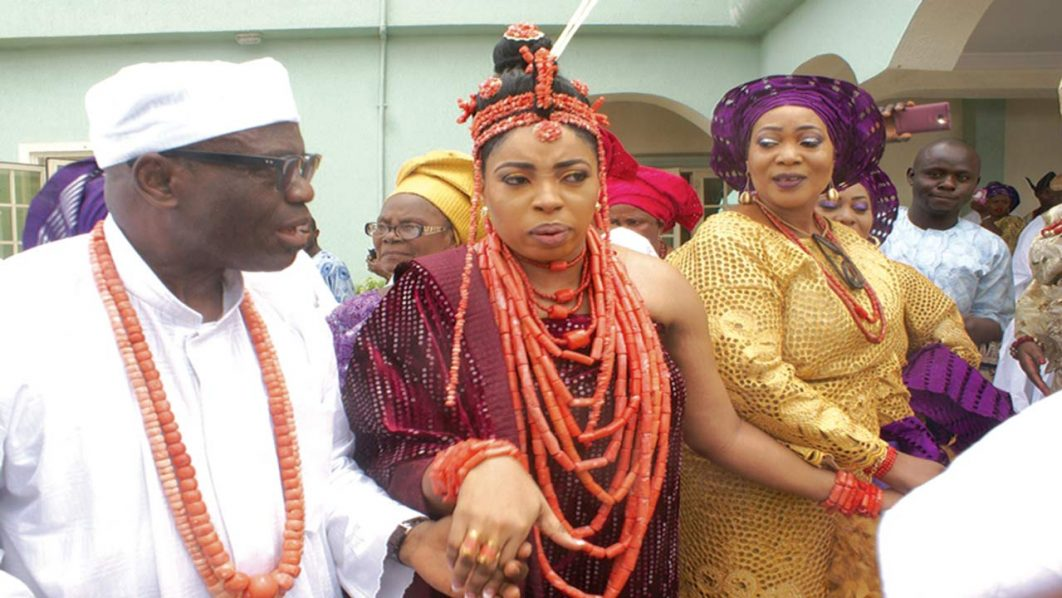 Chief Obayuwana Obanor (left); the bride, Zenat Obanor; and Princess Folasade Ogunwusi Fadairo at the wedding between the Obanor and Obayuwana families and Ooni Of Ife in Osun State…yesterday.