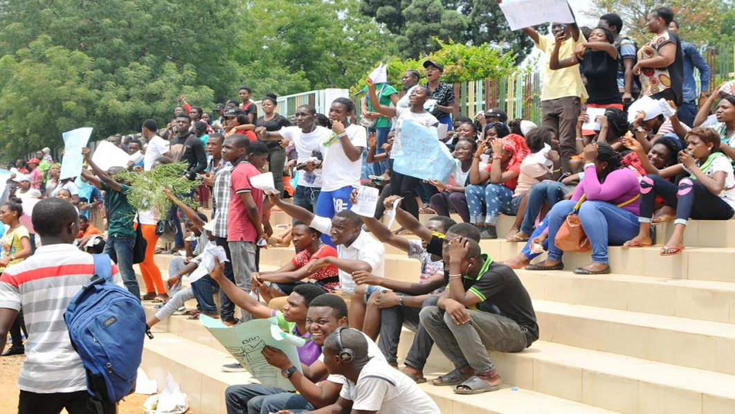 JAMB Candidates protest in Lagos House of Assembly, yesterday.