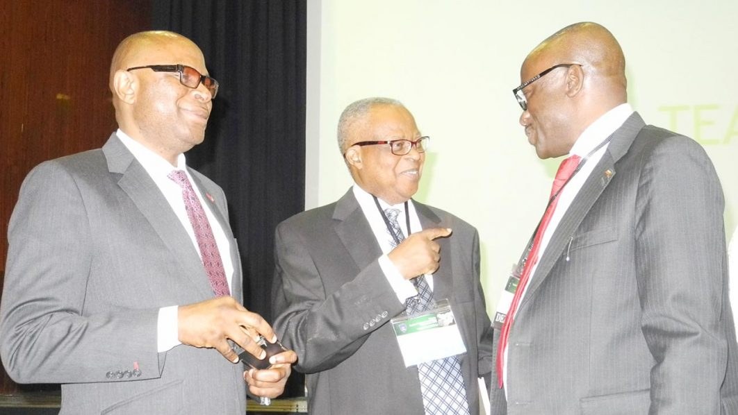 Regional Head, First City Monument Bank, Mr. Mustapha Lukman; Business Law Academy, Prof. Jonathan Fabunmi and the Executive Director, Finance and Account, Nicon Insurance Limited, Mr. Stephen Ojo, at the 2016 Nigeria Public Private Paatnership Conference in Abuja on 15/03 2016. PHOTO: NAN