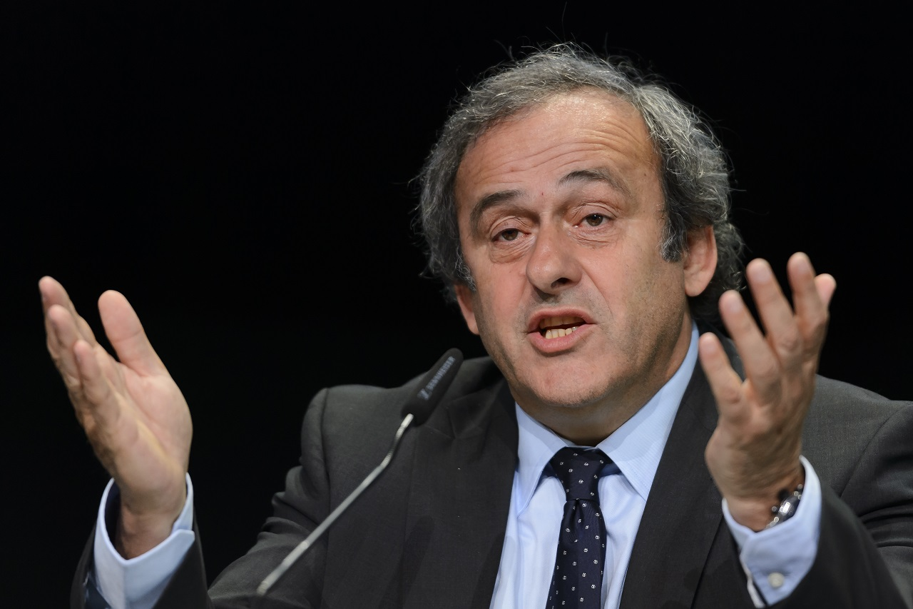 (FILES) This file photo taken on May 28, 2015 shows UEFA President Michel Platini giving a press conference prior to the 65th FIFA Congress on May 28, 2015 in Zurich.  The battle for the FIFA presidency on February 26, 2016 has turned into a gruelling round-the-globe marathon for the five candidates but observers say they are avoiding the real problems facing the scandal-infected world football body. / AFP / FABRICE COFFRINI
