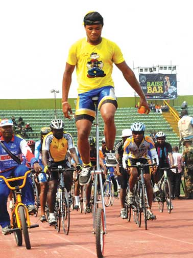 Police cyclists displaying their skills during the opening ceremony of the 10th Nigeria Police Games in Port Harcourt. The 11th edition of the competition began in Abuja…at the weekend.