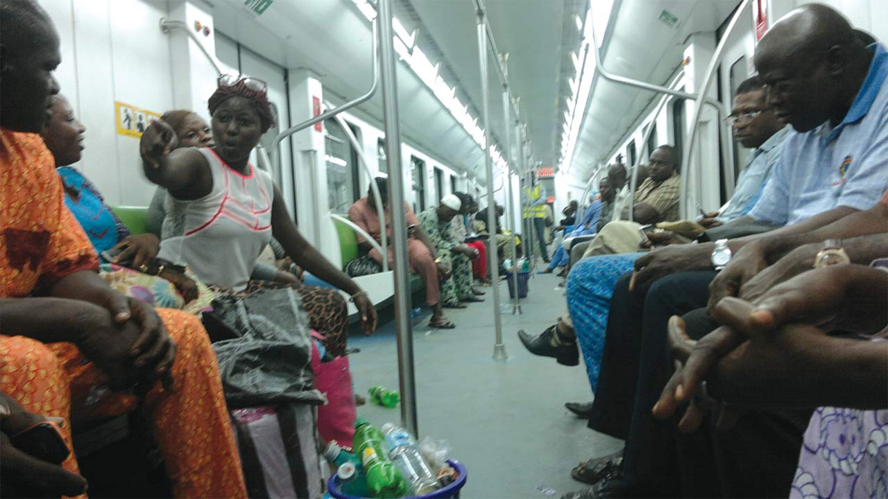 Passengers in one of the Trains PHOTO: GBENGA AKINFENWA