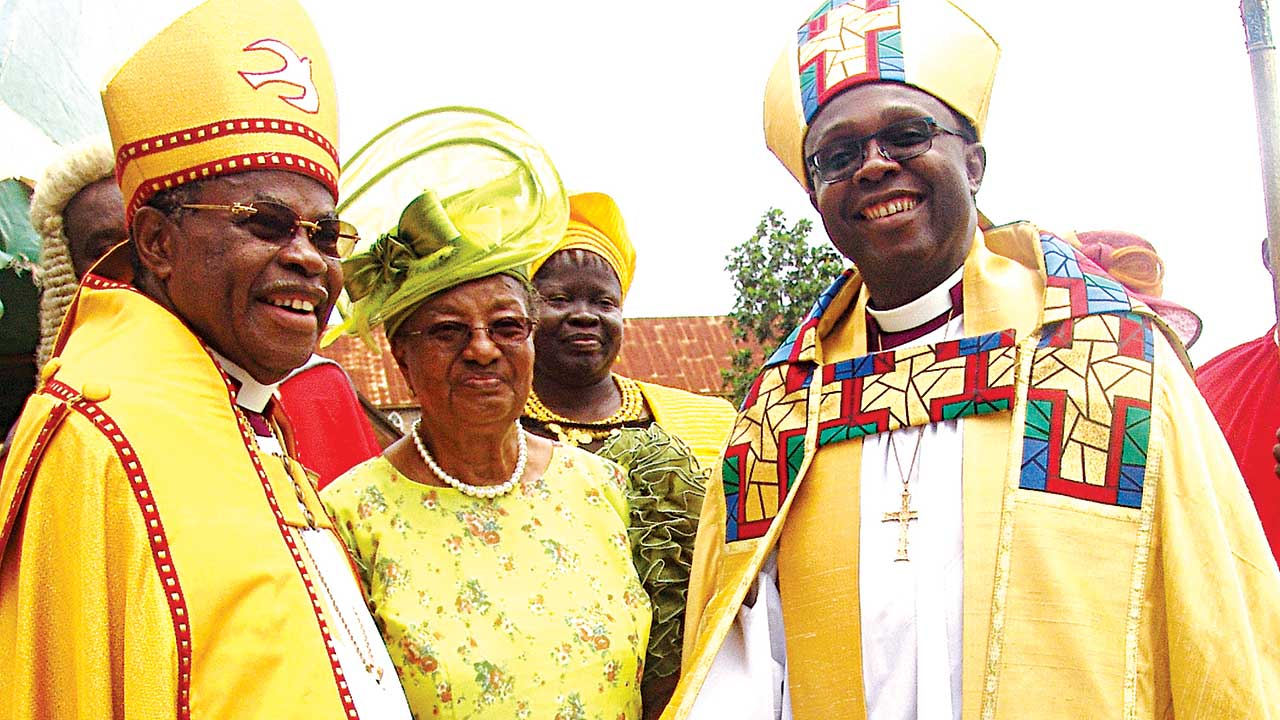 Retired Rt. Rev. Oluranti Odubogun (left), his wife, Folashade and new Bishop of Ife, Rt. Revd. Olubunmi Adeyinka Akinlade at the service.