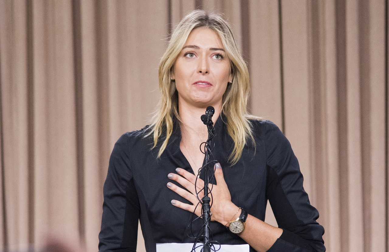 Russian tennis player Maria Sharapova speaks at a press conference in downtown Los Angeles, California, March 7, 2016. The former world number one announced she failed a doping test at the Australian Open, saying a change in the World-Anti-Doping Agency banned list led to the violation. Sharapova said she tested positive for Meldonium, a substance she had been taking since 2006 but one that was added to the banned list this year. / AFP / ROBYN BECK