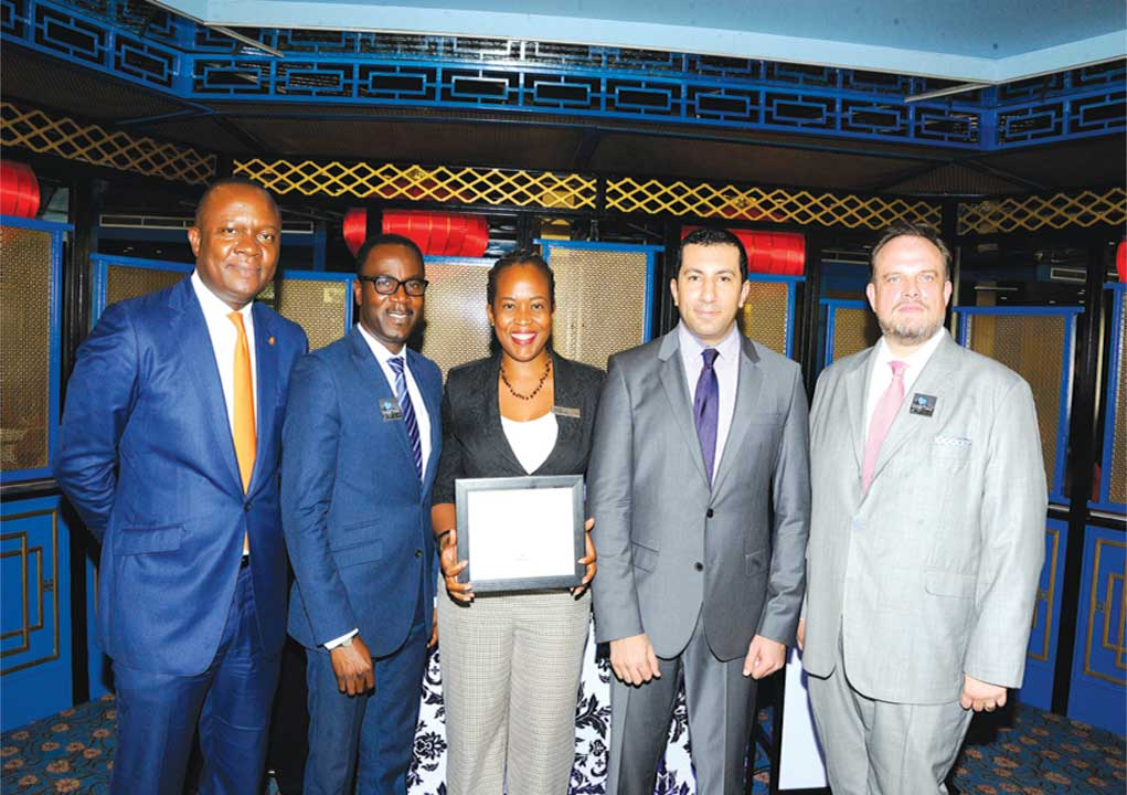 MD/CEO Transcorp Hotels Plc, Valentine Ozigbo (left); PR & Marketing Manager, Transcorp Hilton Abuja, Shola Adeyemo; PR Executive, Director of Business Development, Ijeoma Osuji, Ahmed AbdelGhaffar General Manager of the hotel, Etienne Gailliez at a reception hosted to celebrate the awards in Abuja on Tuesday