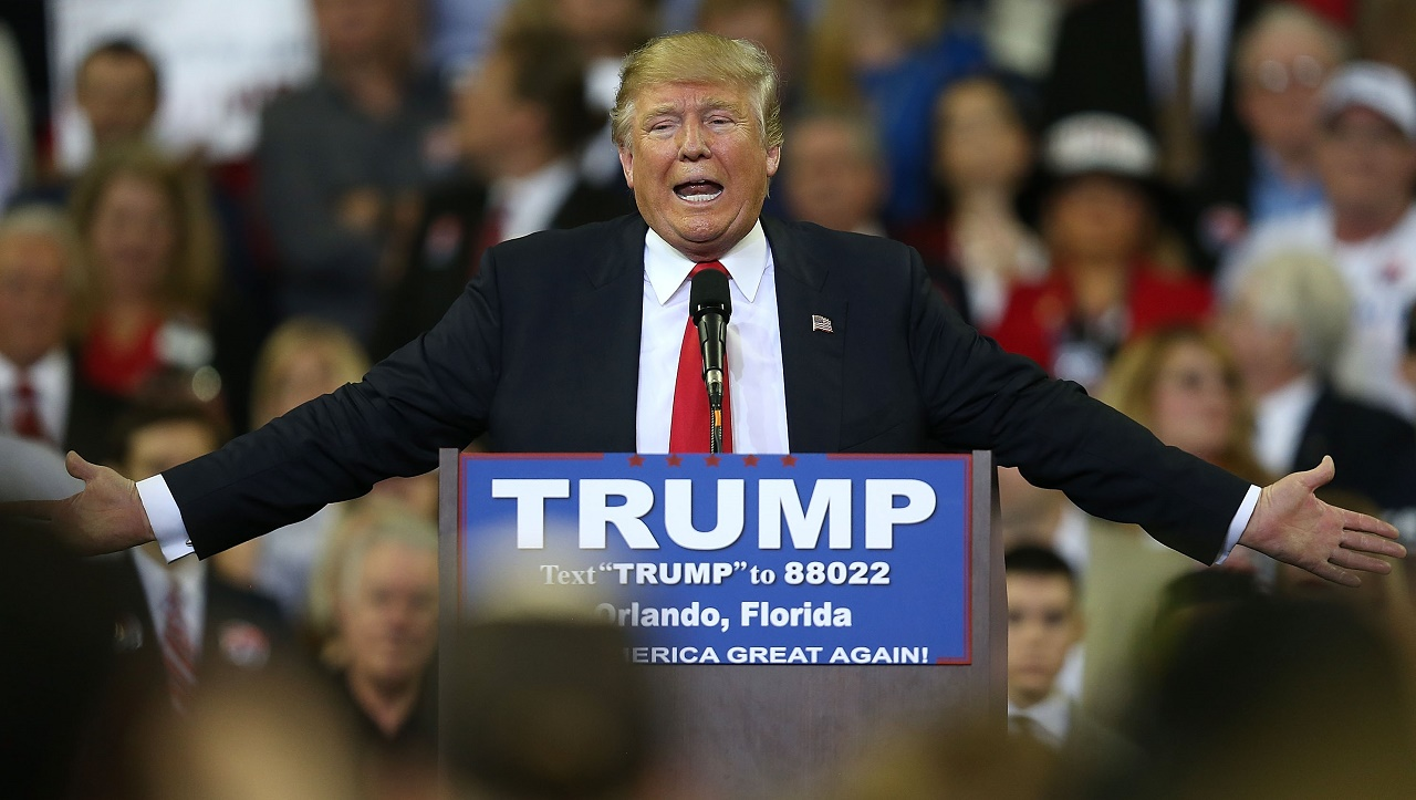 Republican presidential candidate Donald Trump speaks at the CFE Arena during a campaign stop on the campus of the University of Central Florida on March 5, 2016 in Orlando, Florida. Primary voters head to the polls on March 15th in Florida.   Joe Raedle/Getty Images/AFP