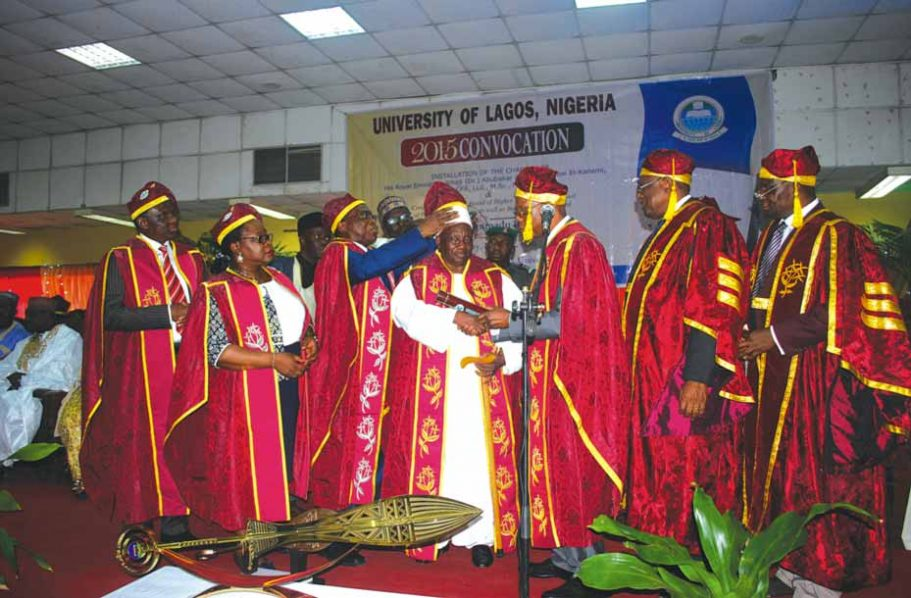 Pro-Chancellor/Chairman of Governing Council, University of Lagos (UNILAG), Prof. Jerry Gana (left); Registrar, Dr. Taiwo Folashade Ipaye; Vice Chancellor, Prof Rahamon Adisa Bello; newly installed Chancellor/Shehu of Borno, Alhaji Abubakar Ibn Umar Garba El-Kanemi; Executive Secretary, National Universities Commission (NUC), Prof. Julius Okojie; Deputy Vice Chancellor (Academics and Research), Prof Babajide Alo and his Management Services counterpart, Prof. Duro Oni; during the 2014/2015 convocation of the institution in Lagos…yesterday.
