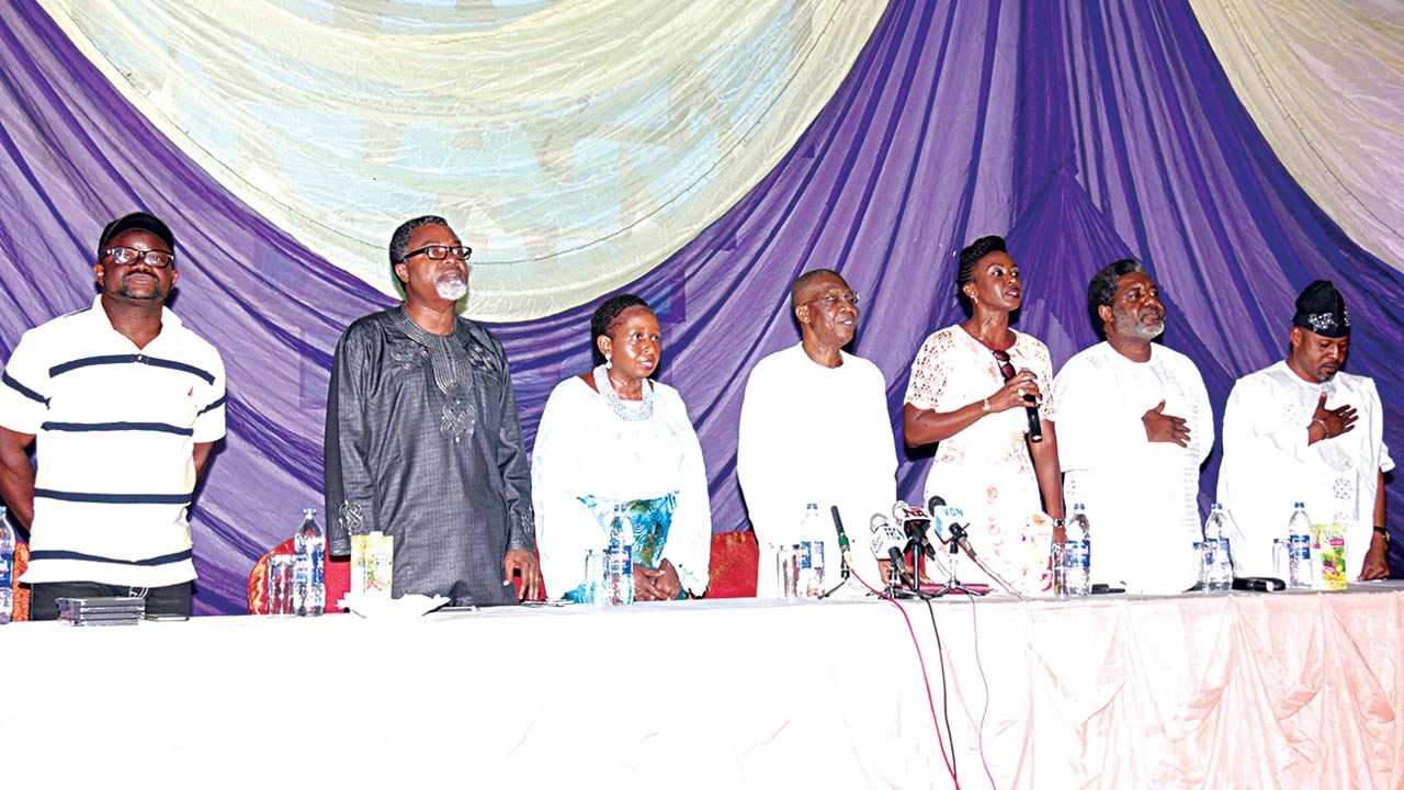 Movie director, Lancelot Oduwa Imaseun (left); Mahmood Ali Balogun; Peace Anyiam Osigwe; Alhaji Lai Mohammed; actress Kate Henshaw; President, Association of Movie Producers (AMP), Ralph Nwadike; and actor Saidi Balogun during the Roundtable… last Sunday in Lagos