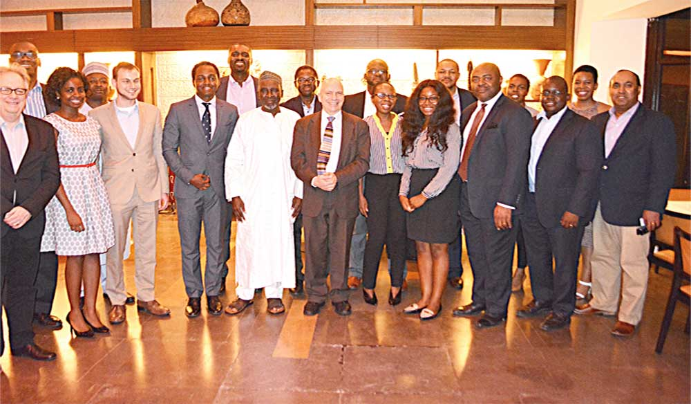 Cross section of Yale University alumni and officials at the event.