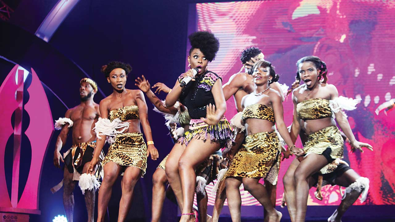 Yemi Alade and her crew performing at the AMVCA held at the Eko Hotel & Suites, Victoria Island, Lagos.