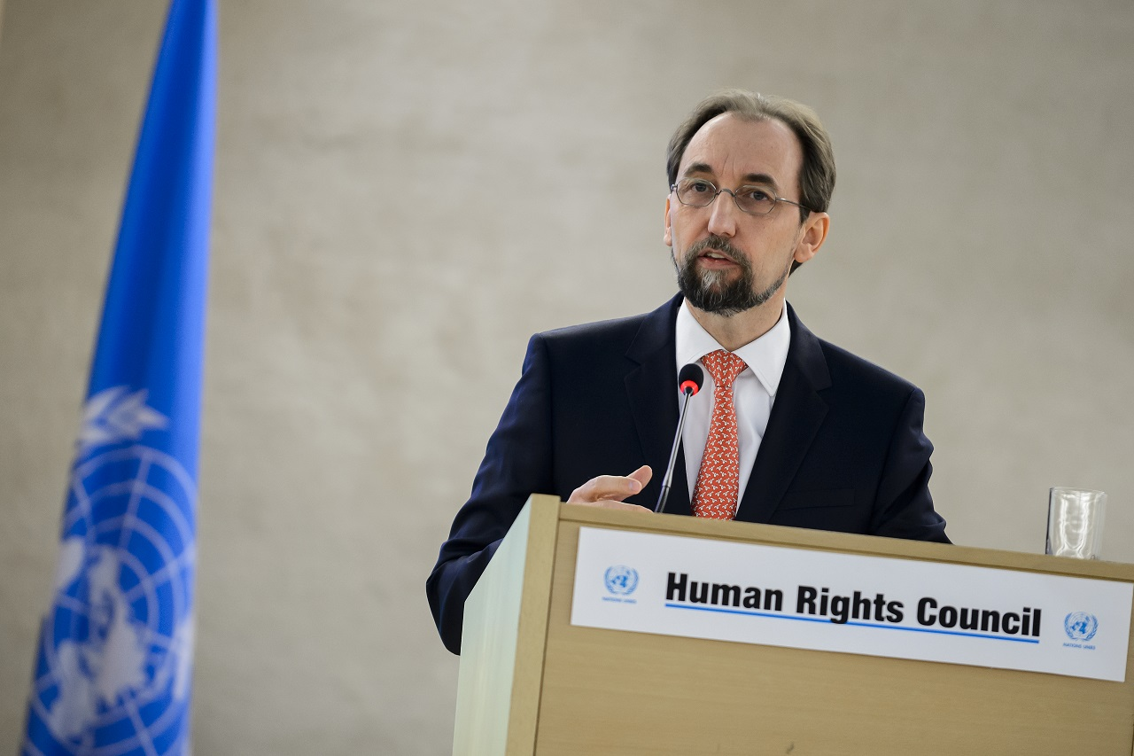 United Nations High Commissioner for Human Rights Zeid Ra'ad Al Hussein delivers his speech at the opening of the main annual session of the United Nations Human Rights Council on February 29, 2016 in Geneva. / AFP / FABRICE COFFRINI