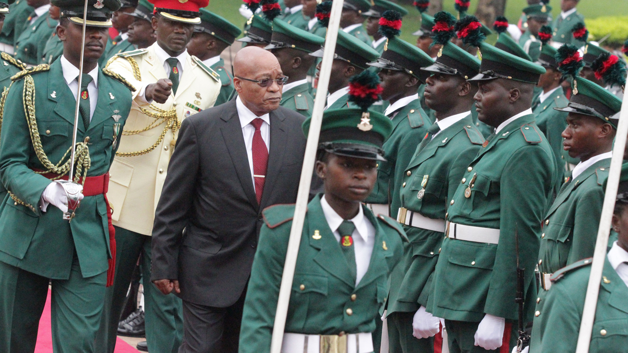 President Jacob Zuma of South Africa inspecting Guards of Honour on his visit to Nigeria. PHOTO: Philip Ojisua
