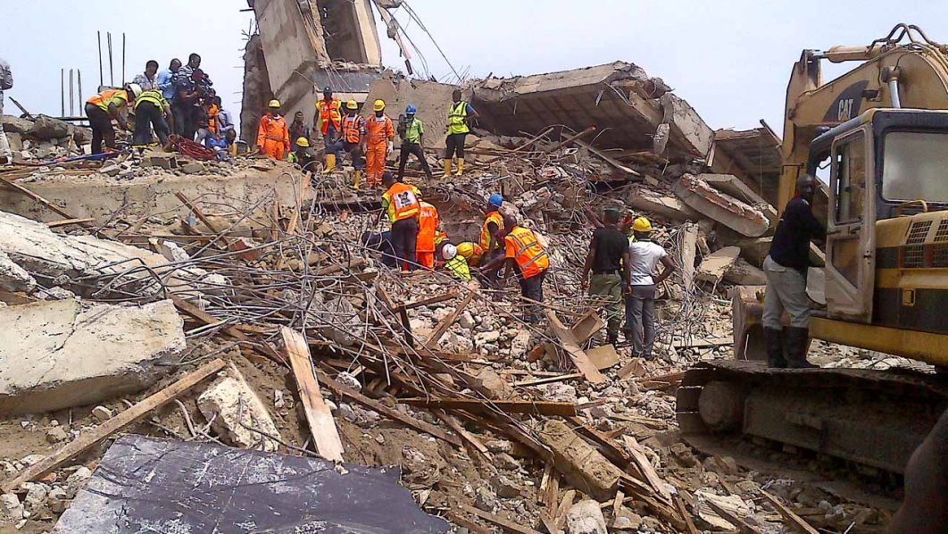 The site of the collapsed building PHOTO: Bertram Nwannekanma