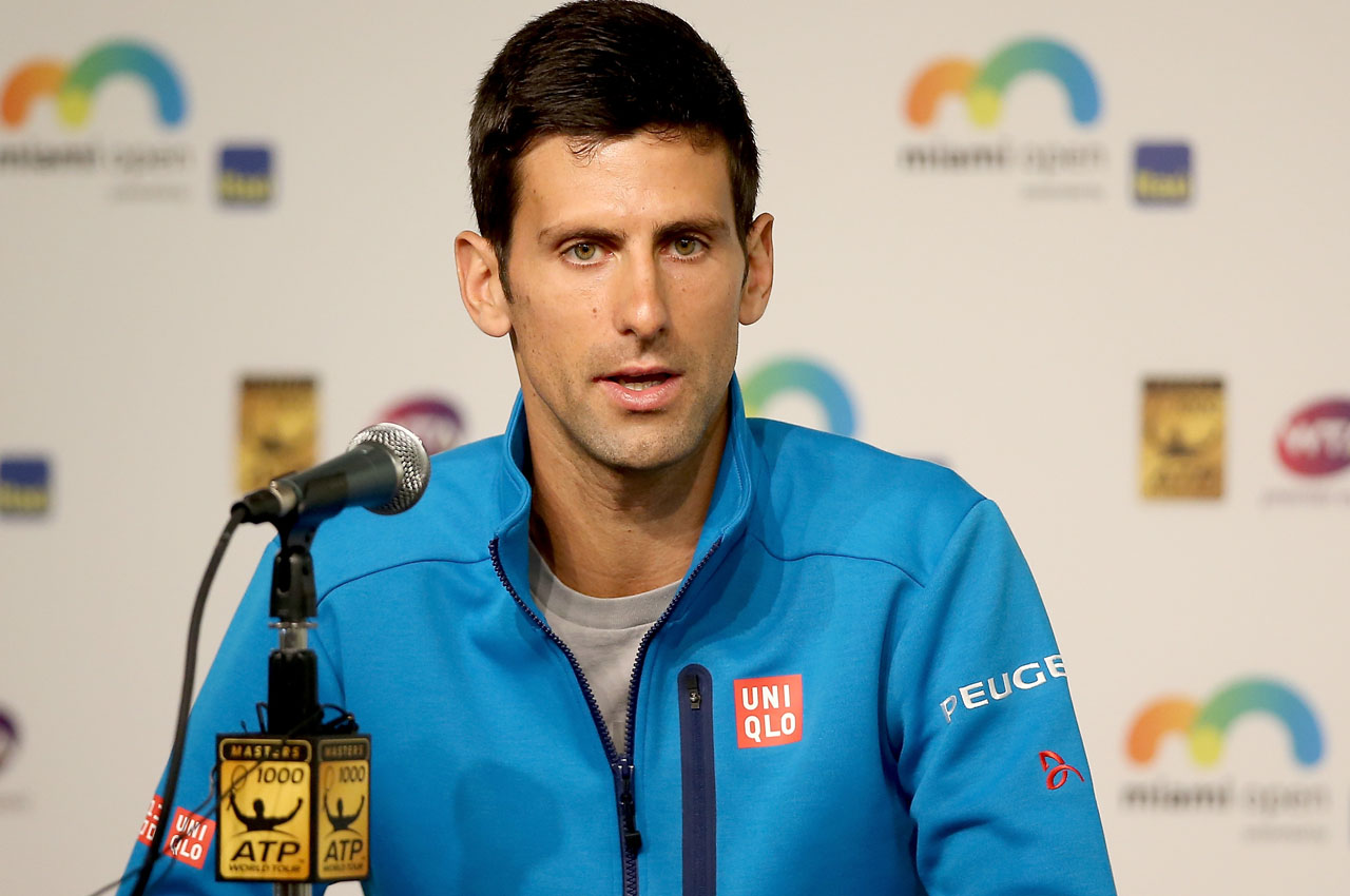 KEY BISCAYNE, FL - MARCH 22: Novak Djokovic of Serbia fields questions from the media during the Miami Open presented by Itau at Crandon Park Tennis Center on March 23, 2016 in Key Biscayne, Florida.   Matthew Stockman/Getty Images/AFP