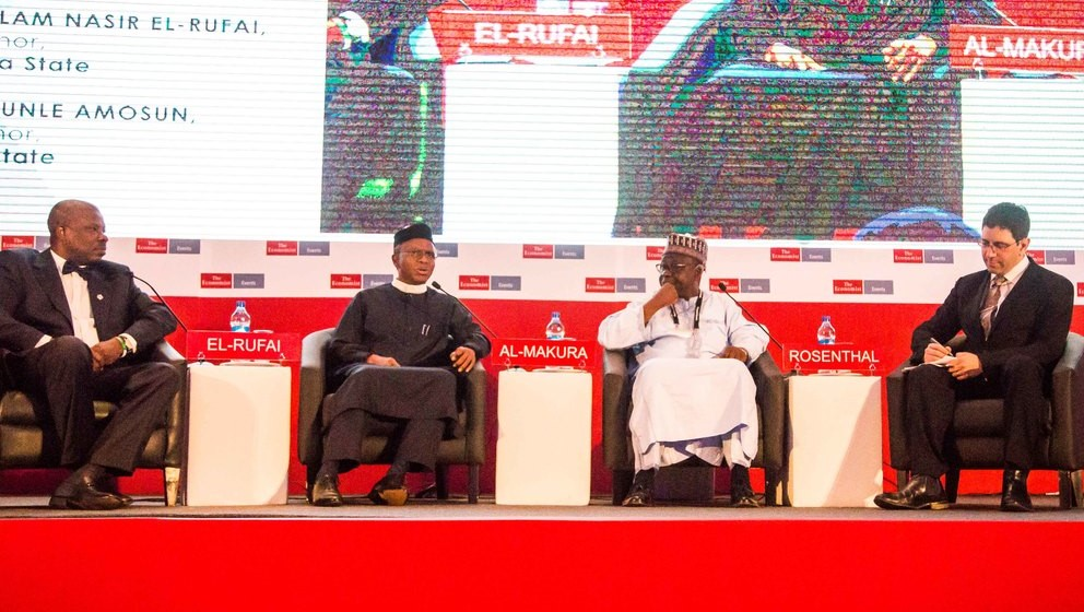 L-R Governors Ibikunle Amosun (Ogun State); Nasir El-Rufai (Kaduna State) Tanko Al-Makura (Nasarawa State) at the Economist 11th Nigeria Summit held between March 7 and 8, 2016 at the InterContinental Hotel, Victoria Island, Lagos.