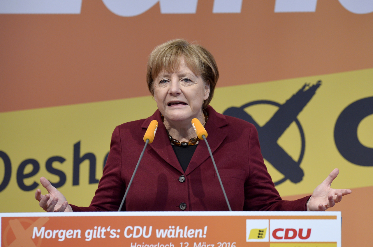 German chancellor Angela Merkel delivers a speech at the last electoral meeting on March 12, 2016 in Haigerloch, southwestern Germany, ahead the regional state elections in Baden-Wuerttemberg.  More than 12 million voters are electing three new regional parliaments for the southwestern states of Baden-Wuerttemberg and Rhineland-Palatinate, as well as eastern Saxony-Anhalt in the so-called Super Sunday polls. / AFP / Thomas Kienzle