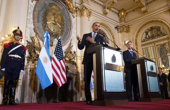 President Obama (middle) at a news conference with the Argentine president, Mauricio Macri, in Buenos Aires...yesterday PHOTO: STEPHEN CROWLEY/THE NEW YORK TIMES