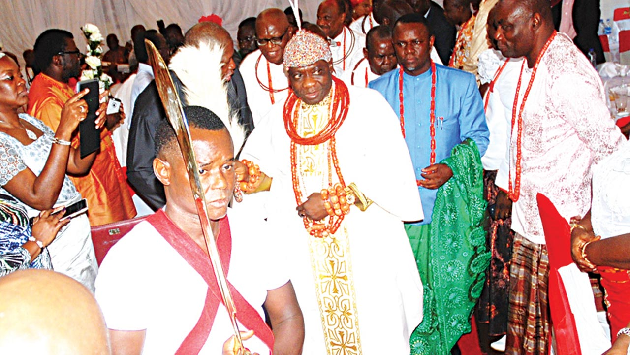 Olu of Warri, His Majesty, Ogiame Ikenwoli, during his arrival for a reception in his honour in Lagos… yesterday. PHOTO: SUNDAY AKINLOLU