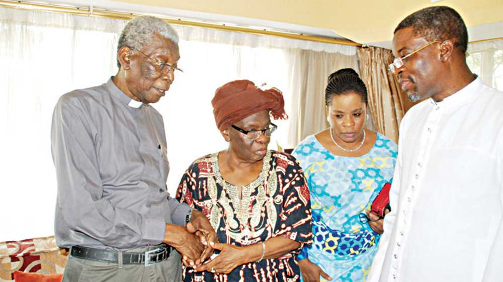 Former Provost, Cathedral Church of Christ, Rev. Yinka Omololu (left); widow, Mrs. Grace Braithwaite; Mrs. Taiwo Mayuku and Vicar, St. Paul's Church, Breadfruit, Lagos, The Ven. Akinwande Godwin-Odubena during a condolence visit at the late Braithwaite's residence in Lagos...yesterday                                                    PHOTO: FEMI ADEBESIN-KUTI