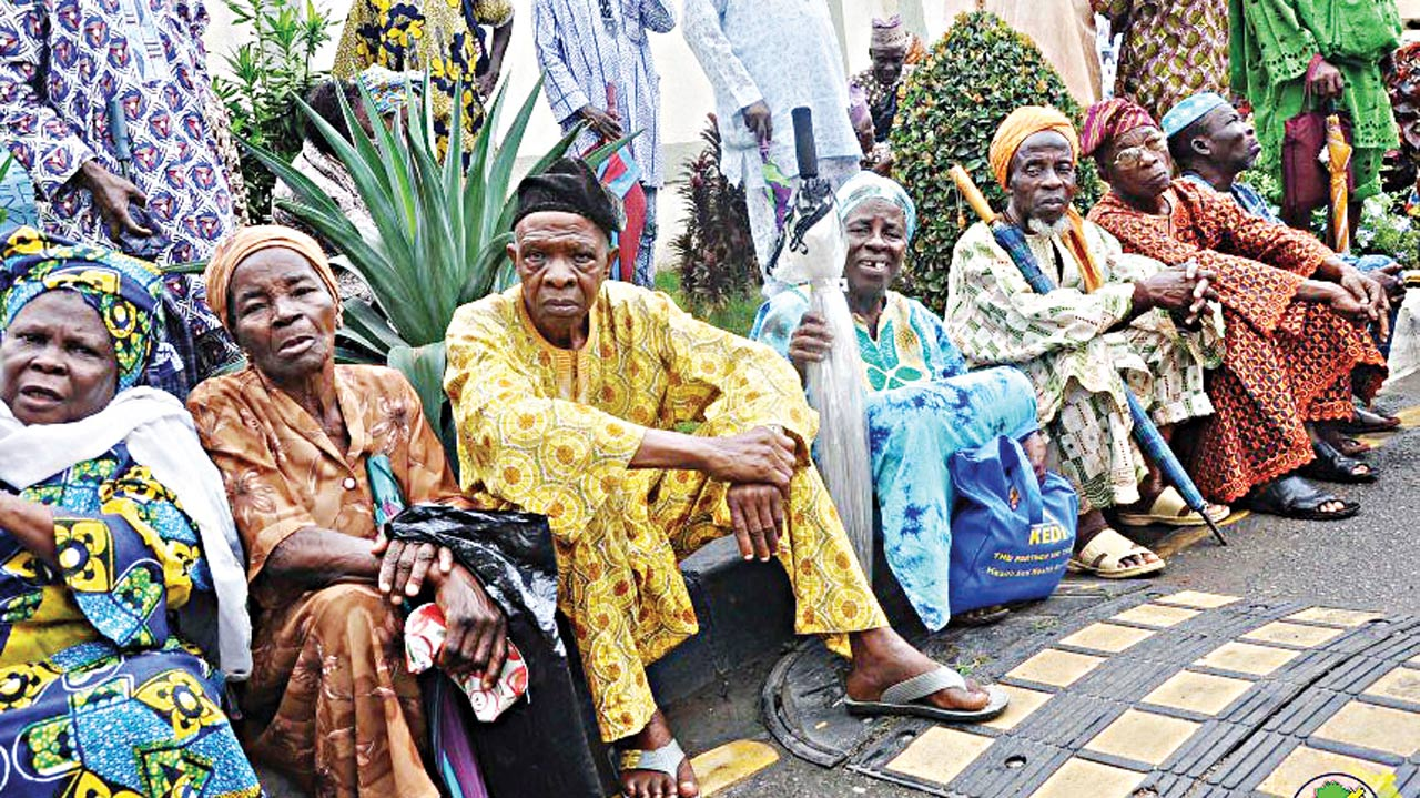 Pensioners at one of the verification centres