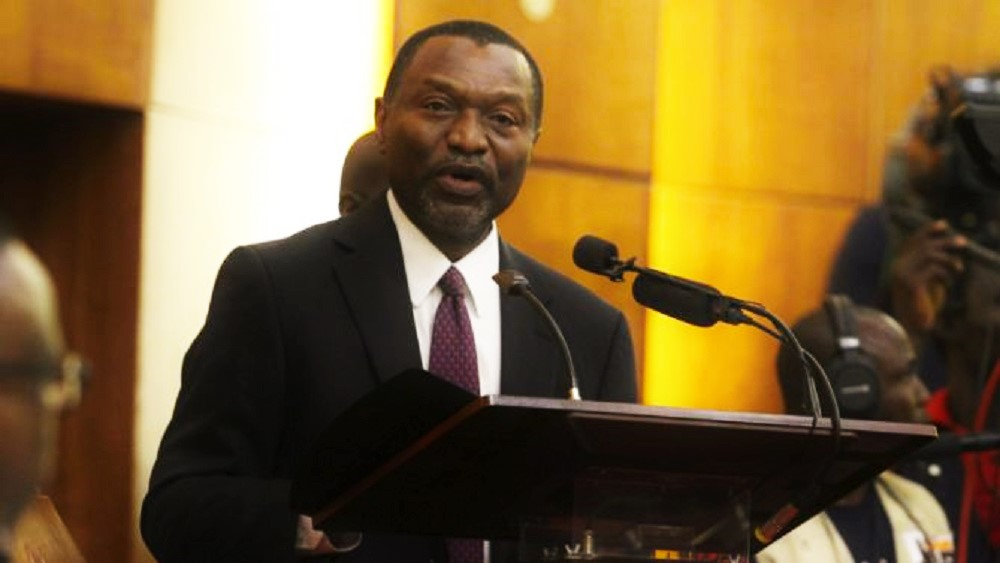 Former Senator Udoma Udo Udoma speaks during the senate screening of new ministers in Abuja, Nigeria October 13, 2015. Picture taken October 13, 2015.  REUTERS/Stringer