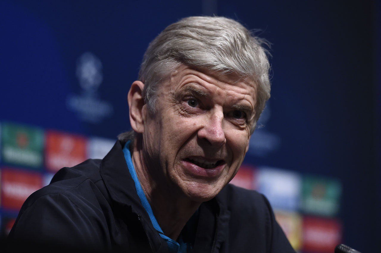Arsenal's French coach Arsene Wenger gives a press conference at the the Camp Nou stadium in Barcelona on March 15, 2016, on the eve of the Round 16 of the UEFA Champions League  football match between FC Barcelona and Arsenal FC.  / AFP / JOSEP LAGO