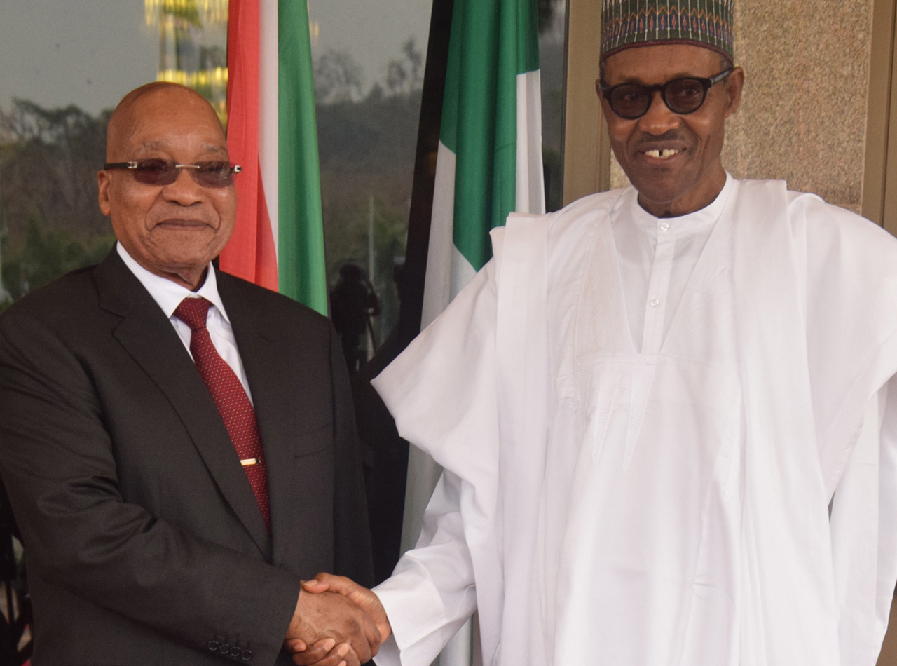 President Muhammadu Buhari welcomes South Africa's President Jacob Zuma to the State House, Abuja on Tuesday PHOTO: Philip Ojisua